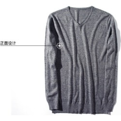 Costbuys  autumn and winter men's V-neck sweater 100% cotton fashion of the solid color fashion men sweater - 01 / XXL