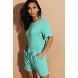 Mint Drawstring Waist Relaxed Fit Playsuit found on Bargain Bro from SinglePrice for USD $12.21