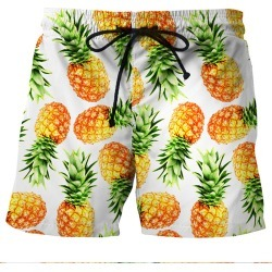 Costbuys  Cool Summer Quick Dry Men's Beach Shorts Pineapple 3D Print Fashion Board Shorts Men Fitness Swimwear - White / XXL found on Bargain Bro India from cost buys for $70.35