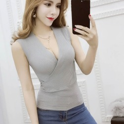 Costbuys  Crop Tops Women Cropped Sexy Summer Women V-neck Tank Tops White Black Pink Blue Sleeveless - gray / One Size found on MODAPINS from cost buys for USD $85.99