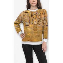 Women's Crewneck Sweatshirt - Rubino Klimt Gold Abstrac in Brown/Yellow by Tony Rubino Original Artist found on Bargain Bro India from SHOPVIDA for $90.00