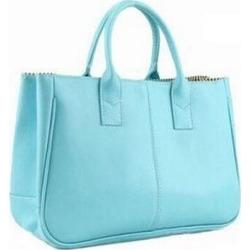 Costbuys  Hot Sale Women Bag Fashion PU Leather Women's Handbags Top-Handle Bags Tote Women Shoulder Messenger Bag   LL423 - Sky