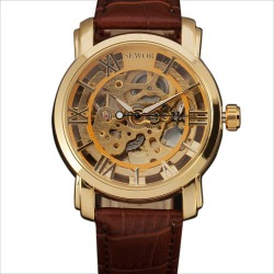Costbuys  Men's Fashion Automatic Mechanical Watches Gold Hollow Skeleton Clock Roman Dial Leather Strap Military Wristwatch Gif