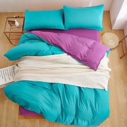 Costbuys  Winter New Style Solid Pink Color 3/4 PCS Bedding Set King Queen Full Twin Duvet Cover Set Flat Sheet Pillow Case - 24