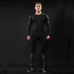 Costbuys  Men Compression Sets Quick Dry Tight Fitness Long Sleeve Shirt And Pants Workout Skinny Sport Running Jerseys Suits 2P