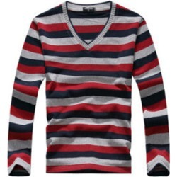 Costbuys  men's long-sleeved cotton stripes sweater fashion and pullover men of Wholesale - Red / XL