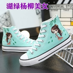Costbuys  Tenis Feminino Casual White Sneakers Women Hand-Painted Canvas Shoes Cute Chaussures Femme Printed Zapatos - F / 4.5 found on Bargain Bro India from cost buys for $123.75