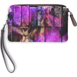 Leather Statement Clutch - The Wall #2 in Brown/Purple by PRIDE Original Artist