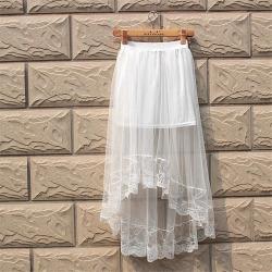 Costbuys  Skirt Fashion Woman Summer Irregular Skirts Casual Splice Online Skirt White Black Women's Lace Skirts Free Size - Bla