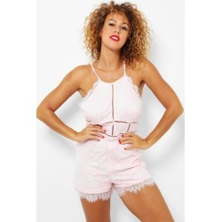 Pink Delicate Scallop Lace Cami Playsuit found on Bargain Bro from SinglePrice for USD $5.08