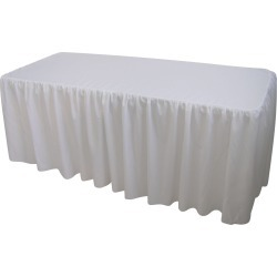White Table Cloth Trestle Cover - 6ft. Gathered found on Bargain Bro India from Simply Wholesale for $61.53