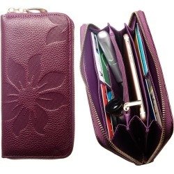 Samsung Infuse 4G SGH-i997 - Genuine Leather Embossed Flower Design Clutch, Purple found on Bargain Bro India from cellularoutfitter.com dynamic for $9.99
