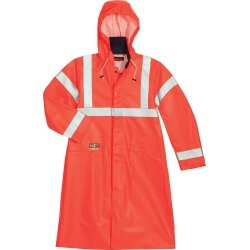 "Tingley Eclipse™ Hi-Vis Flame-Resistant 48""L Raincoat, XL / Orange"