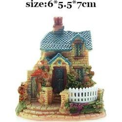 Costbuys  Artificial Mini Micro House Resin Crafts Fairy Garden Decoration Home Garden Decoration Accessories - 02 / 6x5x7cm