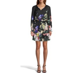 Nicole Miller Dutch Still Life Smocked Long Sleeve Dress | Silk/Polyester/Spandex | Size Large found on MODAPINS from Nicole Miller for USD $385.00