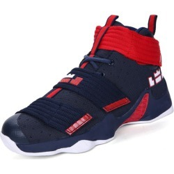 Costbuys  Men Basketball Shoes High Top Athletic Trainers Men Boys Comfortable Basketball Boots Black Red - lan hong / 4