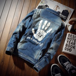 Costbuys  Men's Denim Jacket Spring Autumn Casual Chaqueta Slim Fit Fashion Turn-down Collar Male Cowboy Jackets - as picture /