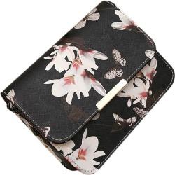 Costbuys  New Handbag Flowers Women Floral PU leather Shoulder Bag Retro Female Mini Messenger Purse Clutch - Black / mini