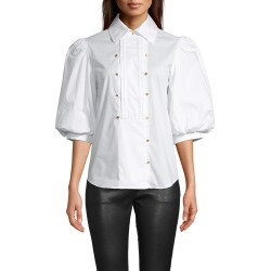 Nicole Miller Cotton Poplin Tuxedo Puff Sleeve Blouse In White | Leather/Elastane/Cotton | Size Large found on MODAPINS from Nicole Miller for USD $320.00