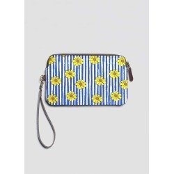 Leather Statement Clutch - Flower Vine - Yellow in Blue/Brown/White by Artbysamantha Original Artist found on Bargain Bro India from SHOPVIDA for $75.00