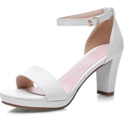 Costbuys  fashion thick high heels open toe woman sandals high quality pu leather black red shoes woman - White / 6 found on Bargain Bro India from cost buys for $234.00