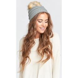 Heidi Pom Pom Hat ~ Heather Grey