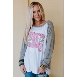 Three Bird Nest Women's Bohemian Clothing Hippie At Heart Baseball Tee Shirt White | Rayon/Spandex/Fabric