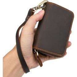 Costbuys  Double Zipper Men Car Key Wallet Vintage Crazy Horse Genuine Leather Cowhide Wallets Card Holder Bag Coin Purse Housek