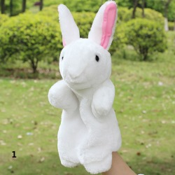 Costbuys  Lovely Cloth Doll Family Finger Puppet Baby Educational Cartoon Animal Hand Toy Soft Plush Toys - White