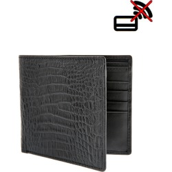 Crocodile Print Leather Billfold Wallet with RFID Blocking Protection, BLACK / ONE found on Bargain Bro UK from Dents