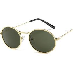 Costbuys  Oval Women Sunglasses Men Glasses Lady Luxury Retro Metal Sun Glasses Vintage Mirror UV400 oculos de sol - Green