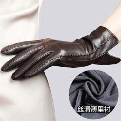 Costbuys  Women Genuine Leather Gloves Female Sheepskin Gloves Spring Autumn Nylon Lined Fashion Trend Mittens - Dark Brown / L