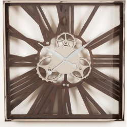 Wood and Nickel Gear Wall Clock Small found on Bargain Bro from interiors online AU for USD $104.86