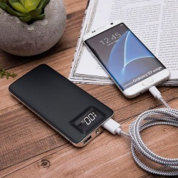 Samsung Galaxy J7 Refine - 10,000 mAh Slim Portable Battery Charger/Powerbank with 2 USB Ports, LCD Display and Flashlight, Blac found on Bargain Bro India from cellularoutfitter.com dynamic for $29.99