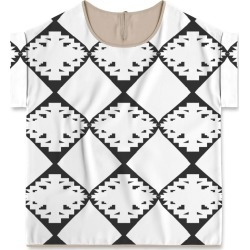Modern Tee - Ethno Design Blocks in White by VIDA Original Artist