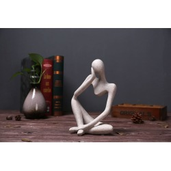 Costbuys  New European Style Vintage Sandstone Resin Person Thinking Figurines Renaissance Carving Home Decoration Christmas Gif