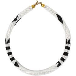Maasai Beaded Kitui Necklace White/Black - White/Black / One found on Bargain Bro UK from ASPIGA