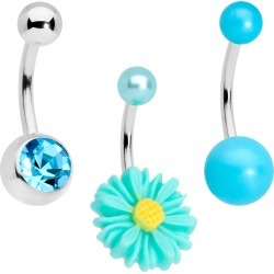Aqua Gem Daisy Pearlescent Belly Ring Set Of 3 From Body Candy found on Bargain Bro India from Body Candy for $14.99