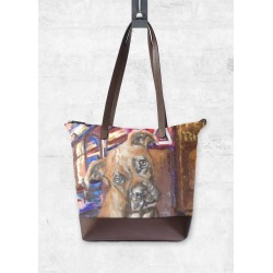 Statement Bag - Dogs Of Paris Croquinette in Blue/Brown by VIDA Original Artist found on MODAPINS from SHOPVIDA for USD $150.00