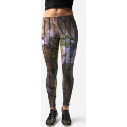Leggings - Floral Brain in Green by VIDA Original Artist