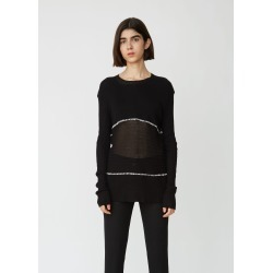 Ann Demeulemeester Unisex Cotton Wool Sweater Prosper Black + Stitches Ecru Size: Small found on MODAPINS from la garconne for USD $830.00