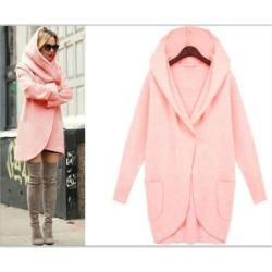 Costbuys  Winter Coat Women Trench Coats Pocket Long Sleeve Hooded Women Overcoat Cotton Blend Cardigans Plus size - pink / XL