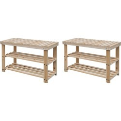 2 In 1 Shoe Rack With Bench Top 2 Pcs Solid Wood