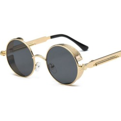 Metal Sunglasses Women Mirrored Circle Sun