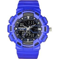 Costbuys  Watches Men's Quartz Digital LED Quartz Watches Military Silicone Waterproof Boy Digital LED Quartz Dual Display - B