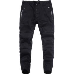 Costbuys  Autumn Fashion Mens Jeans Jogger Pants Black Color Denim Ankle Banded Jeans Men Designer Spliced Lace Pants - XL