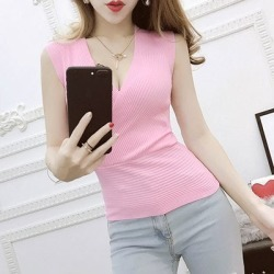 Costbuys  Tank Top 11 Colors Fashion Vest Casual Sleeveless Sexy V-Neck Women Summer Knitted Cotton Clothes - top pink / One Siz