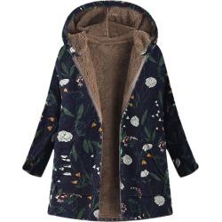 Costbuys  Winter Coat Women Parka Vintage Floral Print Hooded Parka Femme Long Jacket - Navy / S / United States