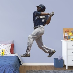 """Lorenzo Cain for Milwaukee Brewers - Officially Licensed MLB Removable Wall Decal Life-Size Athlete + 2 Decals (51""""W x 77""""H) by"""