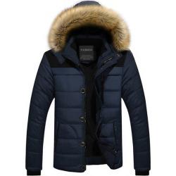 Costbuys  Winter Coat Men Fur Hooded Thick Parkas Men's Casual Down Warm Velvet Parka Overcoat Plus size Clothes - Navy Blue / L